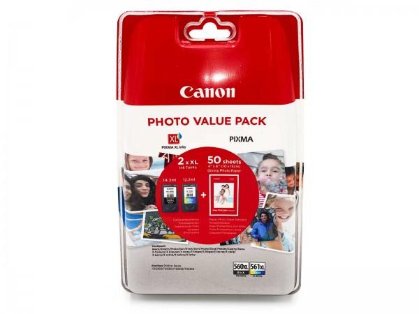 Canon PG-560XL / CL-561XL / 3712C004 Tinten Multipack + 50 Blatt Fotopapier
